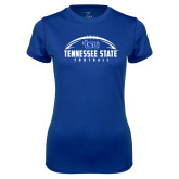 Ladies Syntrel Performance Royal Tee-Tennessee State Football w/ Ball