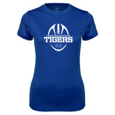 Ladies Syntrel Performance Royal Tee-Tennessee State Tigers Football w/ Vertical Ball