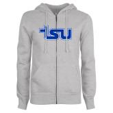 ENZA Ladies Grey Fleece Full Zip Hoodie-TSU