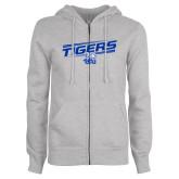 ENZA Ladies Grey Fleece Full Zip Hoodie-Tigers Slanted w/ Logo