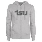 ENZA Ladies Grey Fleece Full Zip Hoodie-TSU Graphite Glitter