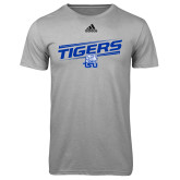 Adidas Climalite Sport Grey Ultimate Performance Tee-Tigers Slanted w/ Logo