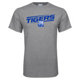 Grey T Shirt-Tigers Slanted w/ Logo