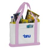 Contender White/Pink Canvas Tote-TSU
