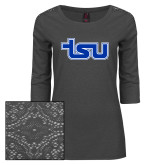 Ladies Charcoal Heather Tri Blend Lace 3/4 Sleeve Tee-TSU
