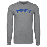 Grey Long Sleeve T Shirt-Arched Tennessee State University