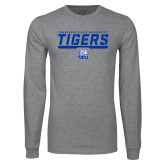 Grey Long Sleeve T Shirt-Tennessee State University Tigers Stencil