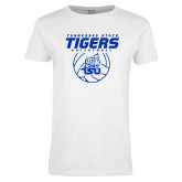 Ladies White T Shirt-Tennessee State Tigers Volleyball Stacked