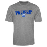 Performance Grey Heather Contender Tee-Tigers Slanted w/ Logo