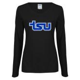 Ladies Black Long Sleeve V Neck Tee-TSU