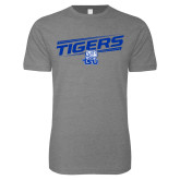 Next Level SoftStyle Heather Grey T Shirt-Tigers Slanted w/ Logo
