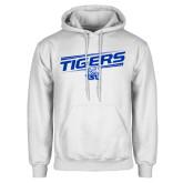 White Fleece Hoodie-Tigers Slanted w/ Logo