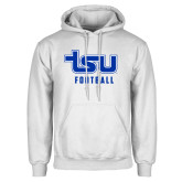 White Fleece Hood-Football