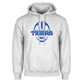 White Fleece Hoodie-Tennessee State Tigers Football w/ Vertical Ball