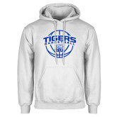 White Fleece Hoodie-Tigers Basketball Arched w/ Ball