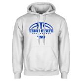 White Fleece Hoodie-Tenn State Basketball w/ Half Ball