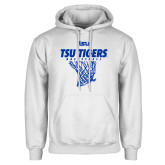 White Fleece Hood-TSU Tigers Basketball w/ Hanging Net