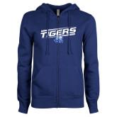 ENZA Ladies Royal Fleece Full Zip Hoodie-Tigers Slanted w/ Logo