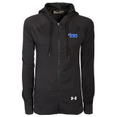 Ladies Under Armour Black Varsity Full Zip Hoodie-TSU