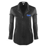 Ladies Red House Black Herringbone Non Iron Long Sleeve Shirt-TSU