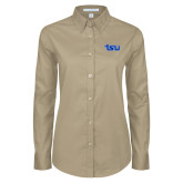 Ladies Khaki Twill Button Down Long Sleeve-TSU