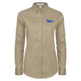 Ladies Khaki Twill Button Down Long Sleeve-TSU