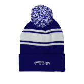 Royal/White Two Tone Knit Pom Beanie w/Cuff-Arched Tennessee State University