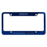 Mom Metal Blue License Plate Frame-Mom