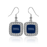 Crystal Studded Square Pendant Silver Dangle Earrings-Thiel Logo