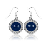 Crystal Studded Round Pendant Silver Dangle Earrings-Thiel Logo