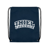 Navy Drawstring Backpack-Athletic Logo