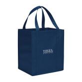 Non Woven Navy Grocery Tote-Thiel Logo