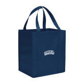 Non Woven Navy Grocery Tote-Athletic Logo
