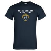 Navy T Shirt-Wrestling