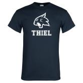 Navy T Shirt-Mascot over Thiel