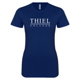 Next Level Ladies SoftStyle Junior Fitted Navy Tee-Thiel Logo