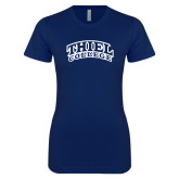 Next Level Ladies SoftStyle Junior Fitted Navy Tee-Athletic Logo