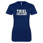 Next Level Ladies SoftStyle Junior Fitted Navy Tee-Thiel College