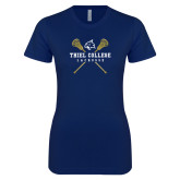 Next Level Ladies SoftStyle Junior Fitted Navy Tee-Lacrosse Womens