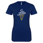 Next Level Ladies SoftStyle Junior Fitted Navy Tee-Lacrosse Mens