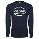 Navy Long Sleeve T Shirt-Thiel College Sigma Kappa