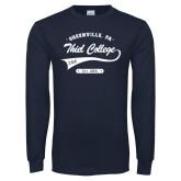 Navy Long Sleeve T Shirt-Thiel College Sigma Phi Epsilon