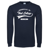 Navy Long Sleeve T Shirt-Thiel College Zeta Tau Alpha