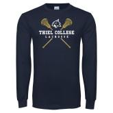 Navy Long Sleeve T Shirt-Lacrosse Womens