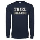Navy Long Sleeve T Shirt-Thiel College Distressed