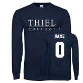 Navy Long Sleeve T Shirt-Thiel Logo, Custom Tee w/ Name and #