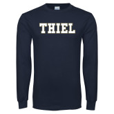 Navy Long Sleeve T Shirt-Thiel College Block