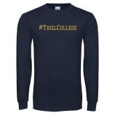 Navy Long Sleeve T Shirt-Hashtag Thiel College