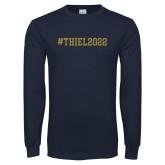 Navy Long Sleeve T Shirt-Hashtag Thiel 2022
