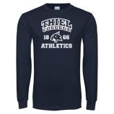 Navy Long Sleeve T Shirt-Thiel College Athletics
